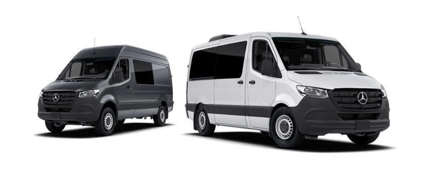 Two vans arranged on a white background.