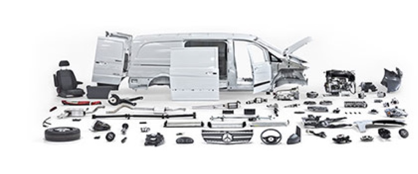 Various van parts arranged on a white background.