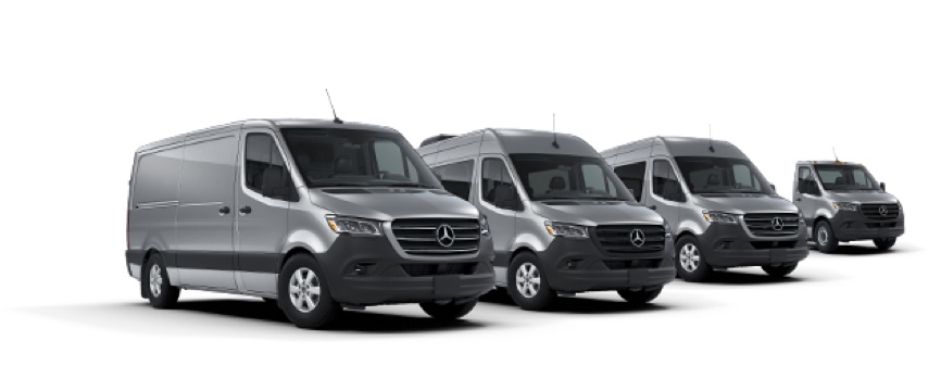 Image of four different Sprinter van models.