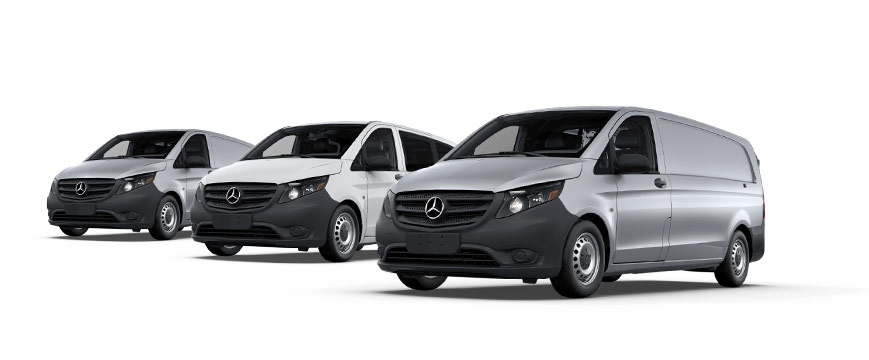 Image of four different Metris van models.