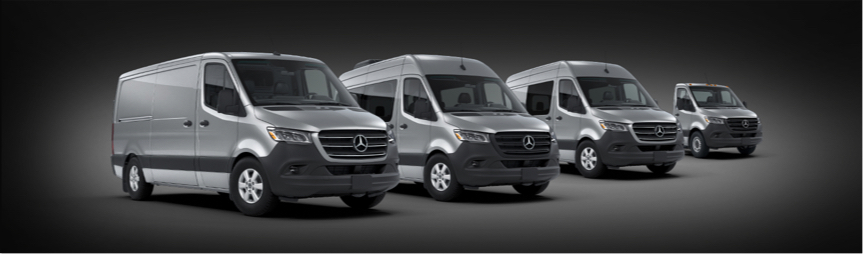 Four different models of Sprinter vans on a dark background.