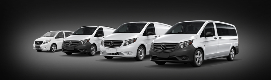 Four different models of Metris vans on a dark background.