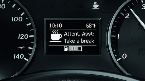 View of the dashboard with Attention Assist activated.