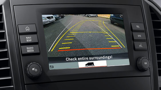 View of van dashboard using rearview camera.