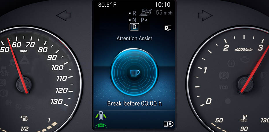 View of the dashboard indicator for Attention Assist.