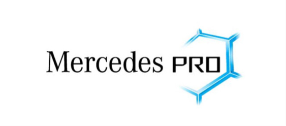 View of Mercedes PRO connect logo.